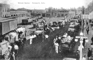 1900's – Cotton Wagons in Downtown Newport Circa 1900