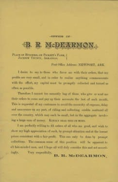 1900's – Collection Letter from B.R. McDearmon Farms Newport