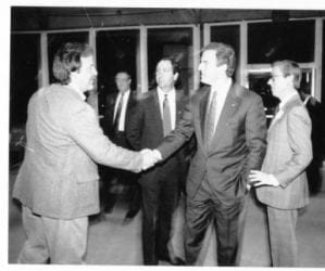 1990's – Governor Jim Guy Tucker at Rick's Armory with Terry Scoggins and Jim Gowen, Sr.