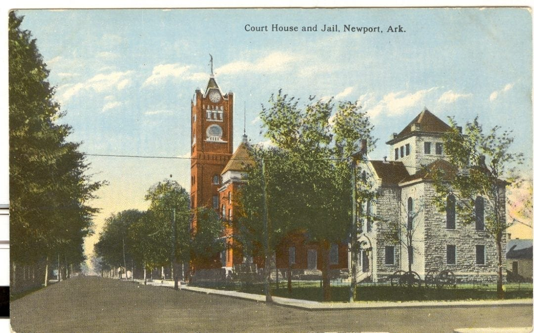 1920's – Postcard of the Jackson County Courthouse and Jail in Newport