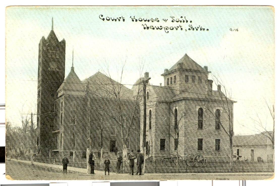 1900's – Postcard of Jackson County Courthouse and Jail in Newport