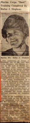 1950's – PFC Rufus Stephens Completes Bootcamp
