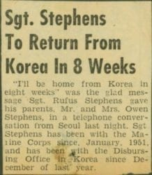 1950's – Sgt. Rufus Stephens to Return from Korea