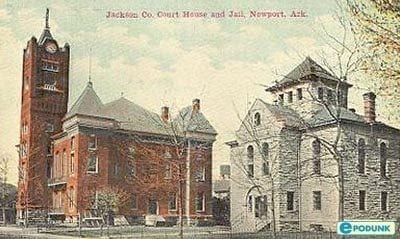 1920's – Postcard Jackson County Courthouse and Jail in Newport, Arkansas